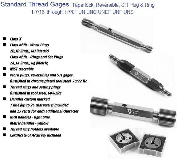 "Standard Thread Gages Work Plugs, Rings and Set Plugs 1-7/16"" to 1-7/8"" 2A 2B 3A 3B"