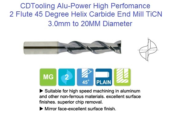2 Flute 45 Degree Alu-Power Carbide End Mill 45 Degree High Helix 3mm to 20mm Diameter