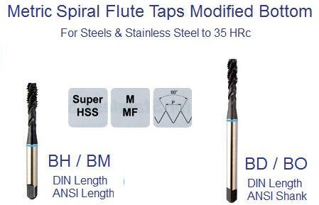 Spiral Flute Tap Modified  Metric Bottom ANSI DIN Steel and Stainless HRc to 35
