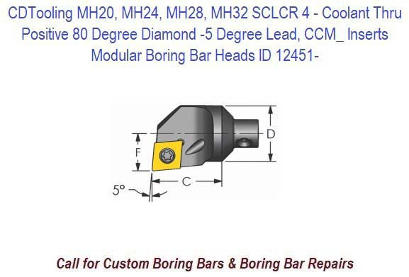 MH20, MH24, MH28, MH32 SCLCR 4-  Modular Boring Bar Head Positive 80 Degree Diamond -5 Degree Lead, Coolant Thru, CCM_ Inserts ID 12451-