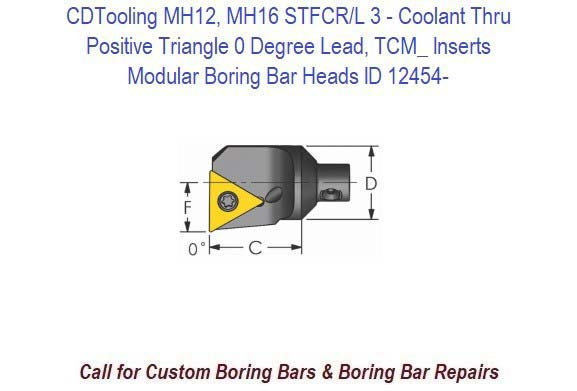 MH12, MH16 STFCR/L 3- Modular Boring Bar Head Positive Triangle 0 Degree Lead, Coolant Thru, TCM_ Inserts ID 12454-