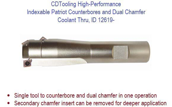 .312, .375, .437, .500, .625, .750 High-Performance Indexable Patriot Counterbore and Dual Chamfer - Coolant Thru, ID 12619-