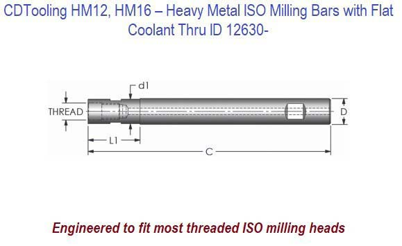 HM12, HM16 - Heavy Metal ISO Milling Bars with Flat, Coolant Thru ID 12630-