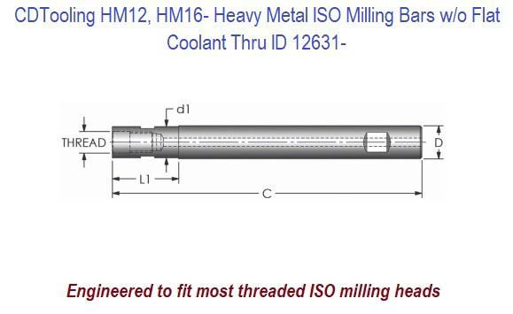 HM12, HM16 - Heavy Metal ISO Milling Bars without Flat, Coolant Thru ID 12631-