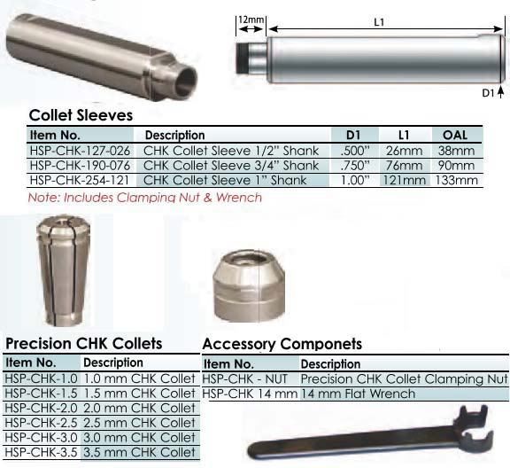 Advanced Precision Micro Tool Holder, Extreme Concentricity <.0002 TIR 1.0 to 3.5 mm Collets ID 2728