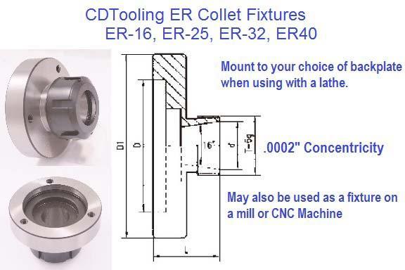 Qty New ER25 Collet Diameter 16 mm