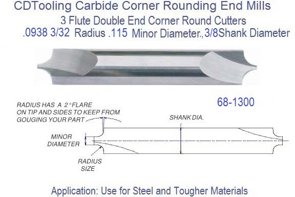 ".0938/"" 3//32/"" RADIUS HIGH SPEED STEEL CORNER ROUNDING END MILL USA!!"