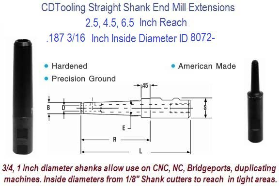 .187 3/16 Standard End Mill Extension Holders 2.5, 4.5, 6.5 Inch Long Reach ID 8072-