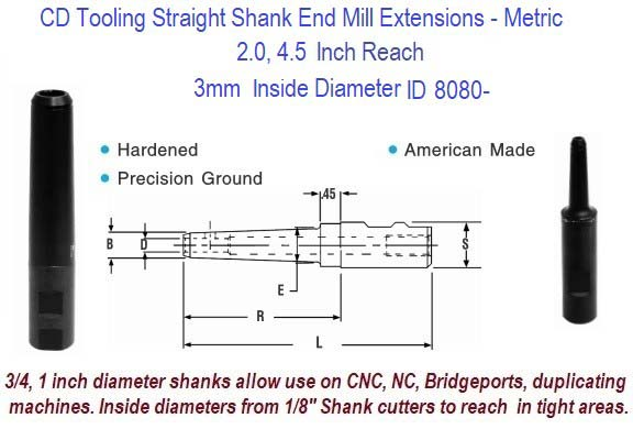 3mm Standard End Mill Extension Holders 2.0, 4.5 Inch Long Reach ID 8080-