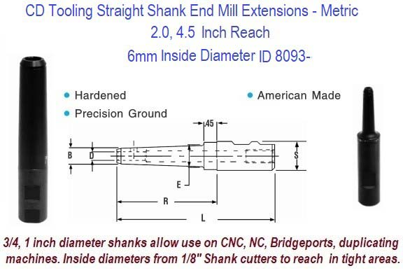 6mm Standard End Mill Extension Holders 2.0, 4.5 Inch Long Reach ID 8093-