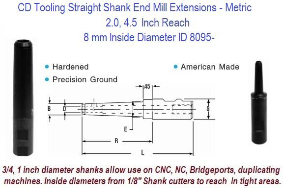 8mm Standard End Mill Extension Holders 2.0, 4.5 Inch Long Reach ID 8095-