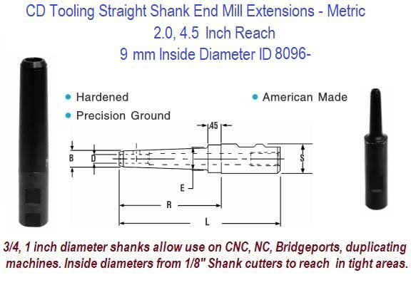 9mm Standard End Mill Extension Holders 2.0, 4.5 Inch Long Reach ID 8096-