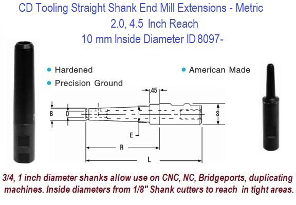 10mm Standard End Mill Extension Holders 2.0, 4.5 Inch Long Reach ID 8097-