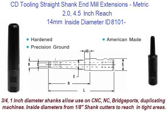 14mm Standard End Mill Extension Holders 2.0, 4.5 Inch Long Reach ID 8101-