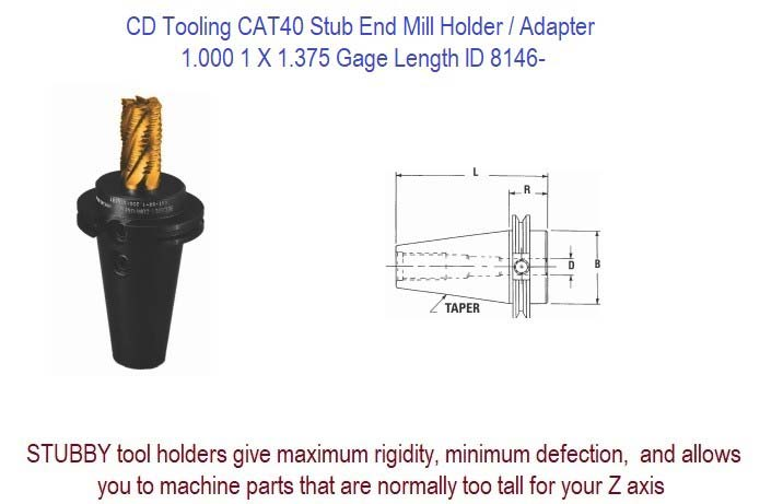 1.000 1 X 1.375 Gage CAT-40 Stub End Mill Holder / Adapter ID 8146-
