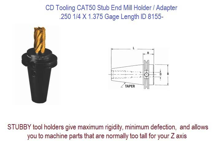 CAT 50 Extra Extended Length 5//16 Size Centaur SC50EXE0375 End Mill Holder