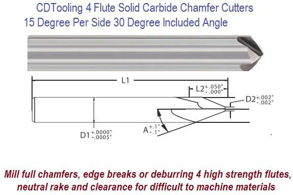 15 Degree per Side, 30 Degree Included Angle Solid Carbide 4 Flute Chamfer End Mill ID 8255-