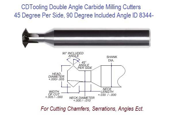 .500 1/2 Inch Head Diameter .187 Width of Cut , 1/2 x 3-1/8 Double Angle Carbide Milling Cutter ID 8344-