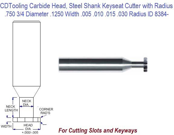 .750 3/4 Inch Diameter .1250 Width .005, .010, .015, .030 Radius Carbide Head Steel Shank Keyseat Killing Cutter ID 8384-