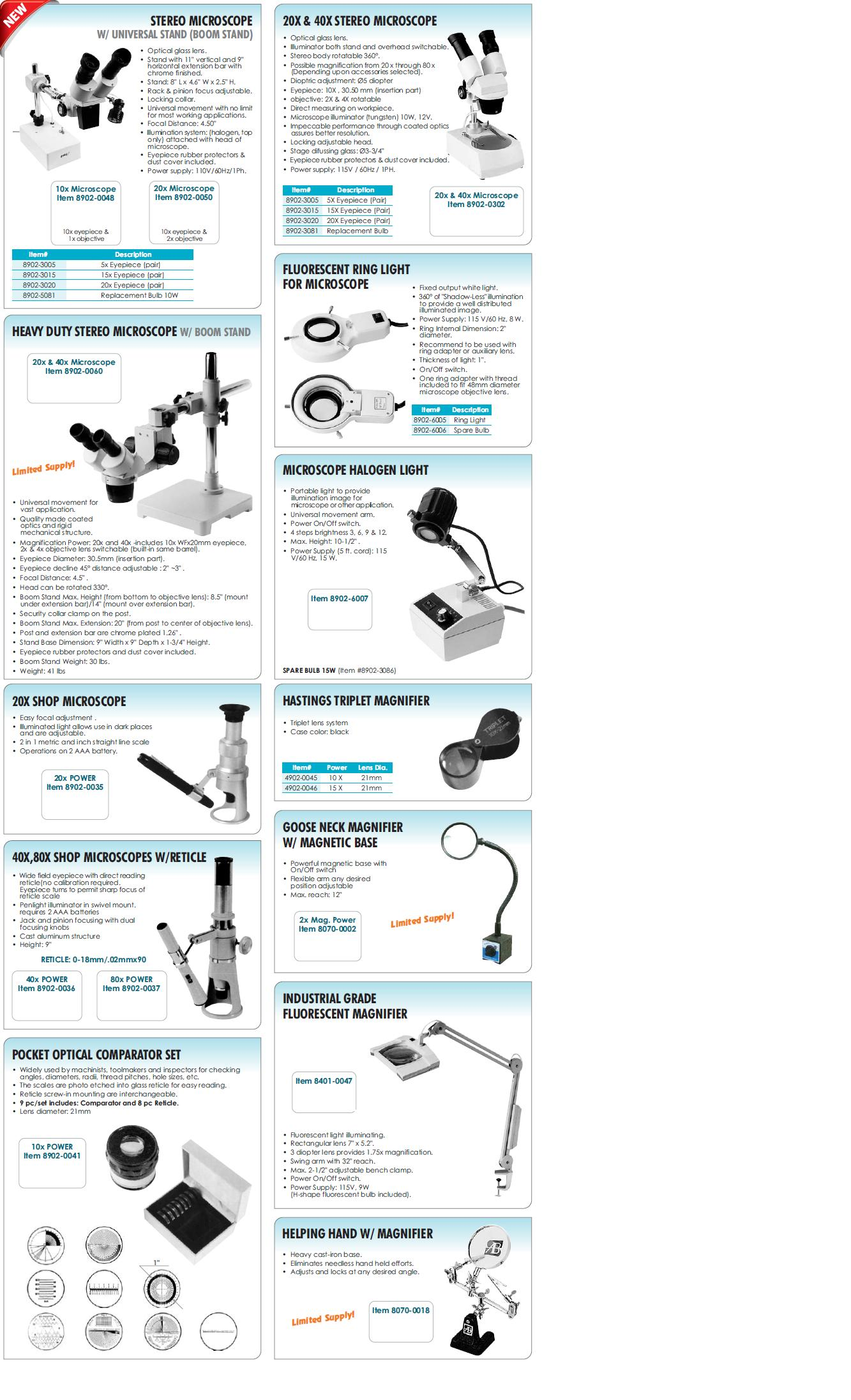 Microscopes, Magnifiers, & Comparator Sets