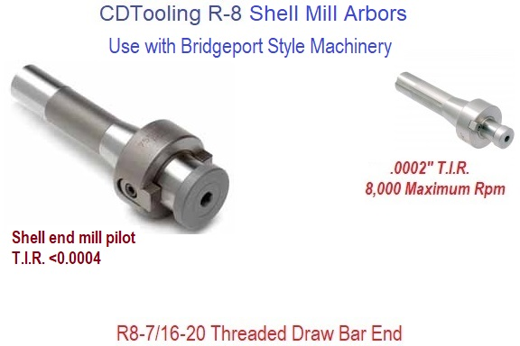 Shell End Mill Arbors with R-8 Shank