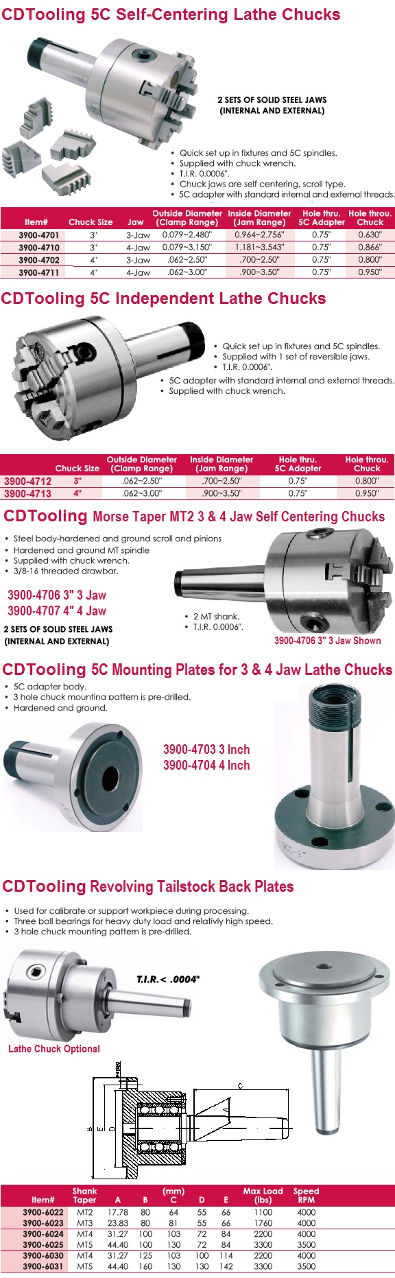 "Lathe Chuck 3"" & 4"" 5C & MT Mount, Revolving Head Tail Stock"