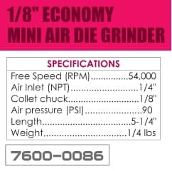 1/8 Inch Economy Mini Air Die Grinder Set ID 1651-