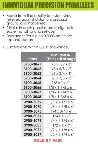 HHIP 3900-3070 1//8 x 1-5//8 x 6 Parallel