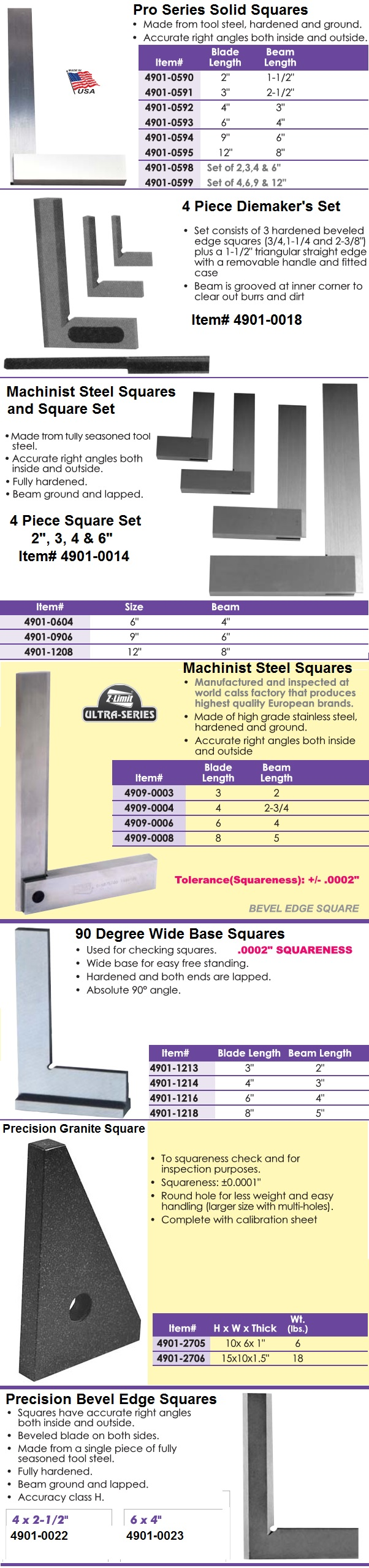 Squares, Machinists, Diemaker's, Precision Bevel,Granite, Wide Base individual and Sets ID 1120-