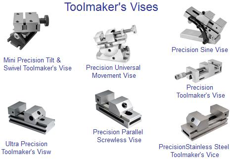 Vises: Toolmaker's Precision, Ultra Precision, Screwless, Tilt Swivel Sine