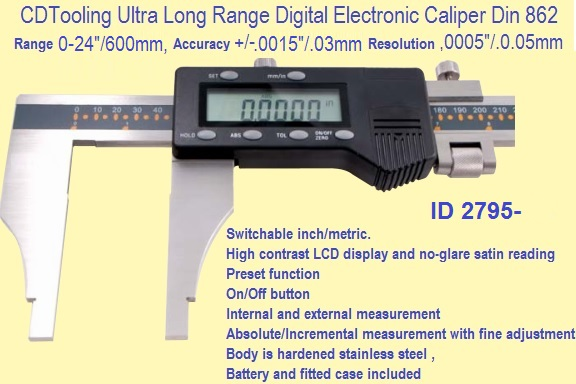 Electronic Digital Caliper Ultra Long Range 0  0  Metric Id 2795