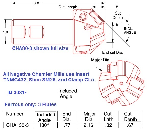 65 Degree Centerline 130 Degree Included Angle 0.77 x 2.16 Diameter Chamfer Mill  ID 3081-CHA130-3