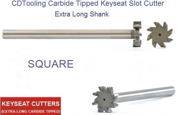 Square Carbide Tipped Keyseat Cutter - EXTRA LONG - 5/8 Inch Dia , .065 - .190 Width - 2 Flutes , For Aluminum - ID: 1654-KSLA-625-065-190-2