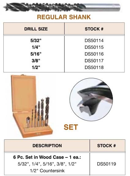 Brad Point Drill / Router / Saw All in 1 Bits  5/32, 1/4, 5/16, 3/8, 1/2 Inch Diameters 12 Pack ID 3014