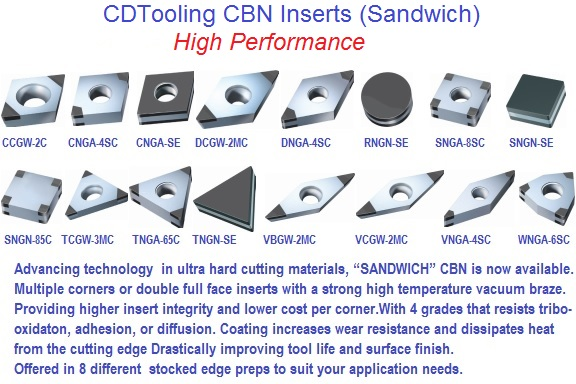 CBN High Performance Inserts (Sandwich)