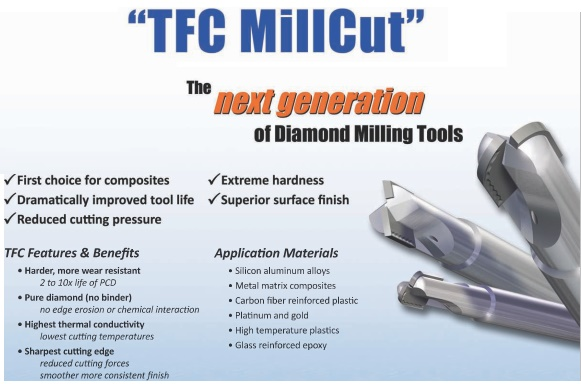 Diamond Tipped End Mills TFC Millcutt