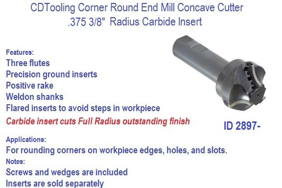 375 3 8 Radius Inch Carbide Insert Concave Corner