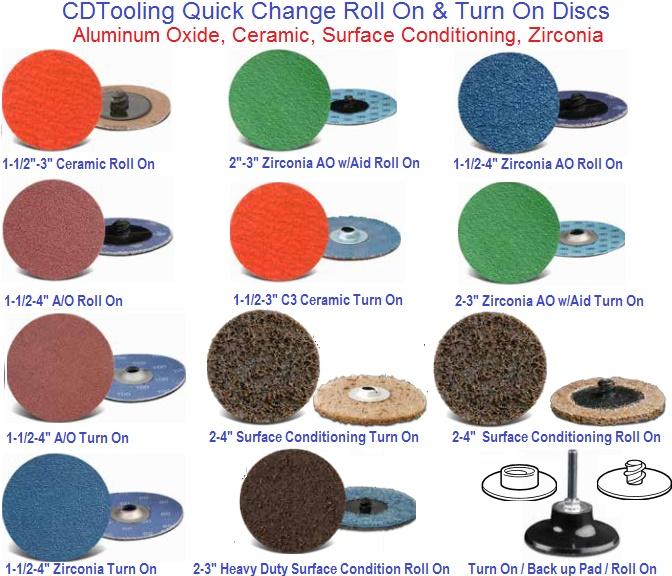 Abrasive Quick Change Disc, Roll On, Turn On