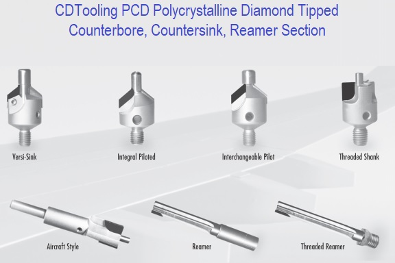 Diamond Polycrystalline PCD Tipped  Countersinks, Counterbores Section