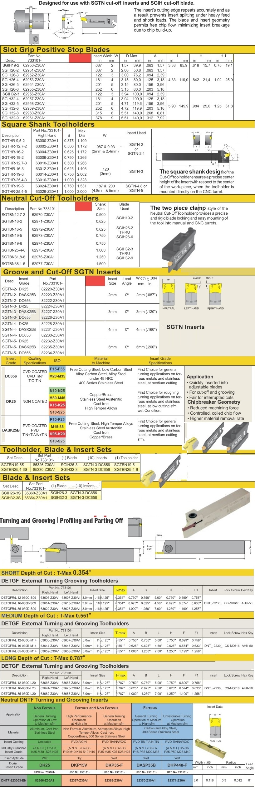 Grooving Part Off Profiling Carbide Inserts, Holders SGIH,SGTHR,SGTBN,SGTN ID 902-