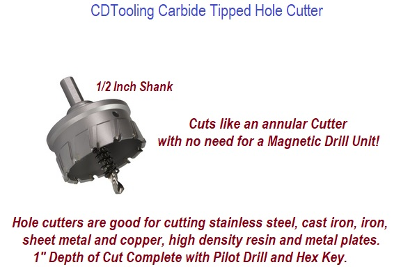 3-13/16 Inch    Carbide Tipped HOLECUTTER 1 Inch   CUTTING DEPTH ID: 347690-