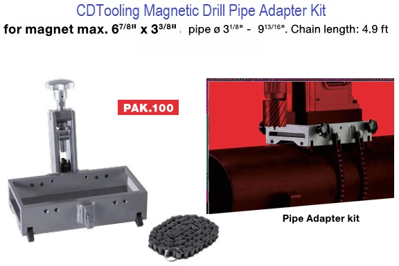Pak 100 Magnetic Drill Pipe Adapter Kit Attach Mag Drill
