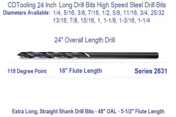 24 In Lg Drill Bits Sizes Avail 1 4 5 16 3 8 7 16 1 2 9 16