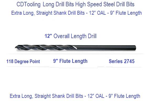 23//64 x 18 OAL HSS Extra Long Drill Bit Straight Shank