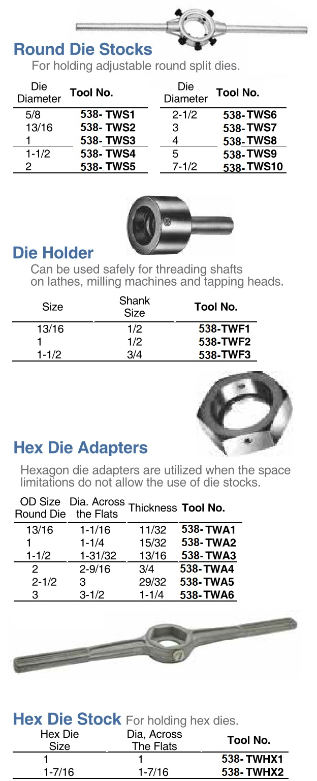 Die, Stock, Handle, Holder for Hex and Round, 13/16, 1, 1-1/2, 2, 2-1/2, 3, 4, 5, 7-1/2 Inch ID 538-