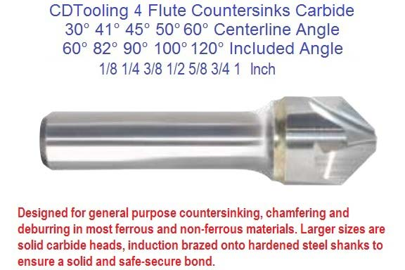 4 (Four) Flute Countersinks Carbide