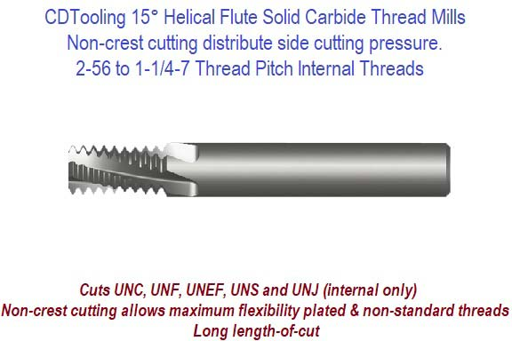 15 Degree Helical Flute Thread Mills Internal Threads