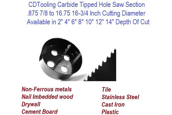 Carbide Tipped Hole Saws .875 to 16.75 Diameter 2 to 14