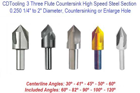 Countersink 3 Three Flute High Speed Steel Section