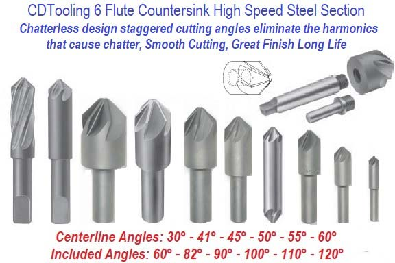 Countersink 6 Flute High Speed Steel Section